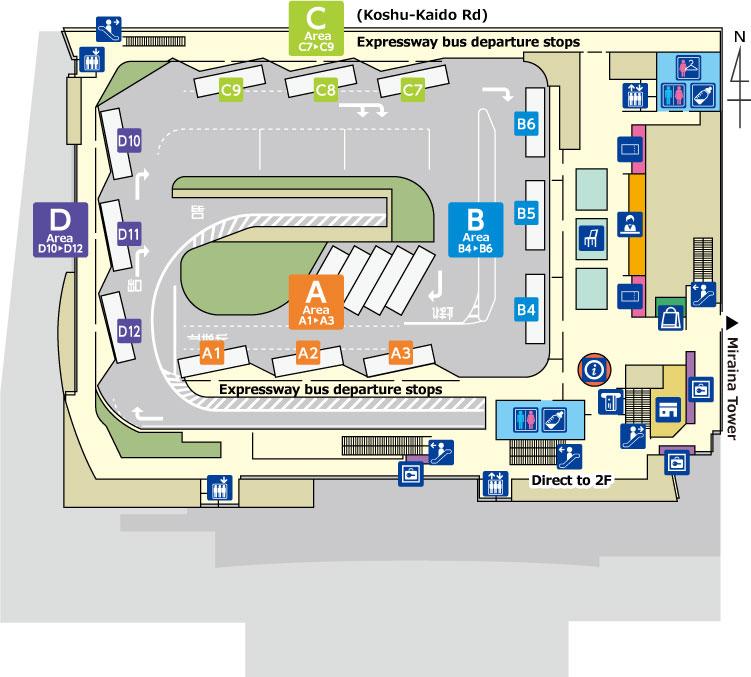 Floor Map Shinjuku Expressway Bus Terminal Sebt